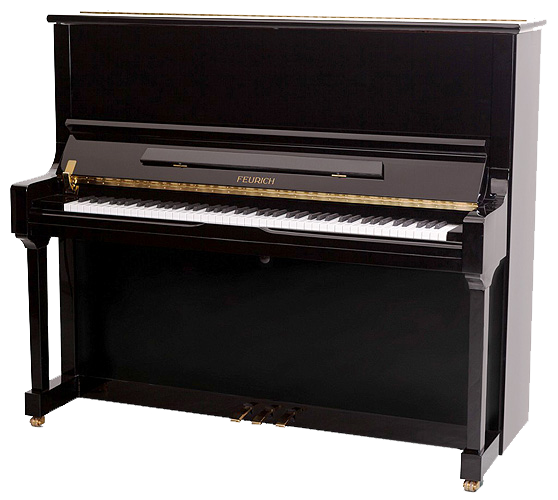 The fullness of tone of the Feurich model 133 Concert surpasses most baby grands and is especially suited for venues where there is no room for a grand piano.