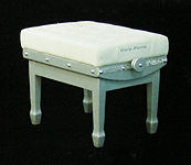 Gary Pons Concert, Adjustable, Aluminium Piano Stool with a  Leather Cover and Decorations