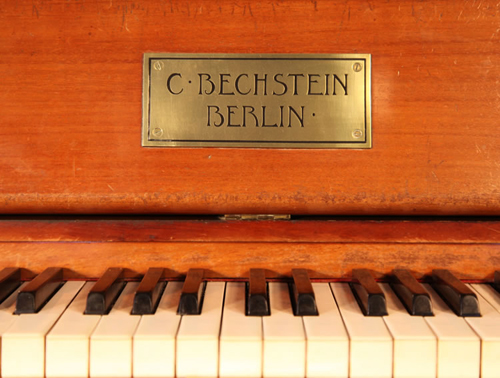 Bechstein Upright Piano Brass Nameplate on Piano Fall