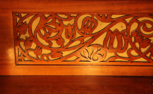 Bechstein Upright Piano Cut Out, Fretwork Panel in a Scrolling Floral Design