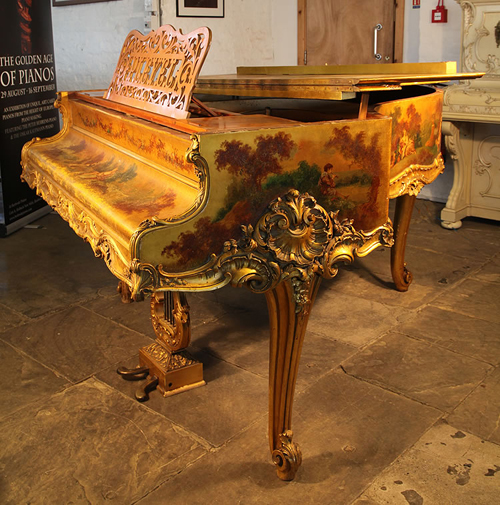 Pleyel Grand Piano with a Louis XV Style, Lustrous Gold, Vernis Martin Case. Entire Cabinet is Covered with  Oil Paintings of Pastoral Scenes by Merlin