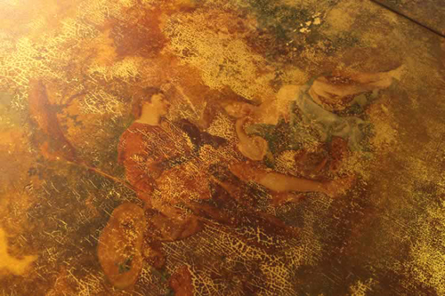 Piano Lid Illustrating the Damaged Vernis Martin Oil Paintings