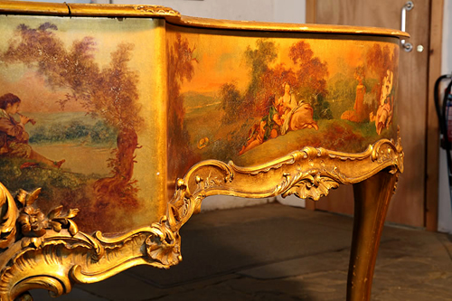 Pleyel Piano Cabinet Detail Featuring Oil Painting of Lovers Reclining in The Countryside. Ornate  Scrolling, Giltwood Cabinet Ornament