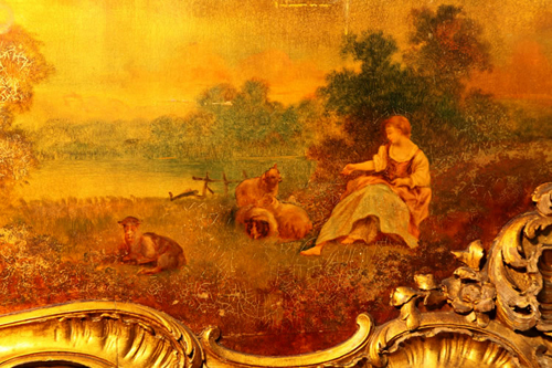 Detail of  Oil Painting Featuring a Girl and Flock in the Fields