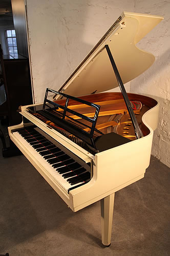 A 1966, Steinway Model M grand piano with a gloss black and matt white case