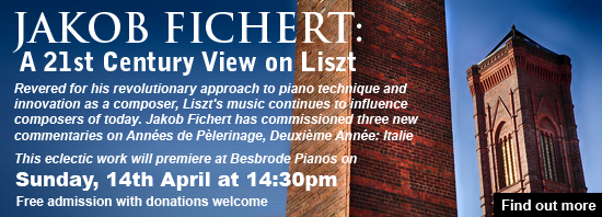 Jakob Fichert, pianist, pedagogue, examiner and lecturer will premier his eclectic works A 21st century view on Liszt at Besbrode Pianos Steinway showroom. Join us on Sunday, 14th April 2019, 14:30pm. 'Revered for his revolutionary approach to piano technique, Liszt was equally innovative as a composer, inspiring the likes of Ravel, Bartok and Ligeti. Liszt's music keeps influencing the composers of today, and the popularity of his piano works continues to soar. This event therefore aims to explore the impact Liszt's writing has on music written in the 21st century'. Jakob has commissioned three composers of highly differing styles and approaches to write commentaries on this masterpiece.  Join Jakob on a grand tour through this imaginative, musical landscape as he throws new light on this evergreen opus with poetic master strokes.