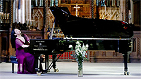 The Times News in pictures: Thursday March 18, 2021:  The pianist Ke Ma marks the end of the Chinese festival at Selby Abbey in Yorkshire, popular with tourists from the Far East after the Taiwanese pop star Jay Chou married Hannah Quinlivan, a Taiwanese-Australian model. Image by LORNE CAMPBELL/GUZELIAN