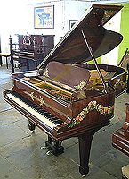 Hand-painted Steinway Grand Piano with garlands of flowers.