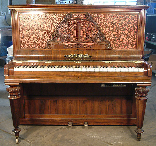 An 1874, Collard & Collard upright piano in french polished rosewood. Genuine antique period piano with a PianoDisc Quiet Time GT-2 system fitted
