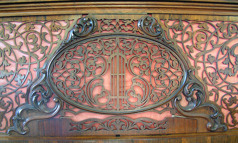 Collard & Collard upright piano ornate filigree front panel with textile backing