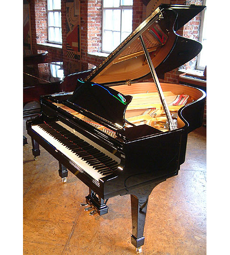 A brand new Steinway Model O Grand with a black case and polyester finish