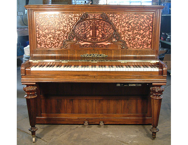An 1874, Collard & Collard upright piano in french polished rosewood. Genuine antique period piano with a fitted Piano Disc Quiet Time GT-2 system