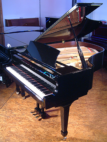 A brand new Essex EGP 173 grand piano with a black case and polyester finish. Designed by Steinway and Sons