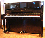 Piano for sale. A brand new, Essex EUP 123 upright piano with a black case and polyester finish