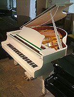 Halle and Voight baby grand piano for sale with a white case and polyester finish