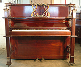 Piano for sale. A restored art cased Allison exhibition upright piano with a polished, mahogany with elaborate bronze mountings. Art nouveau style music stand. A unique exhibition piano