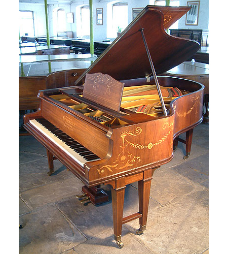 An 1884, Schiedmayer Grand Piano For Sale with an Adams Style, Inlaid Rosewood Case