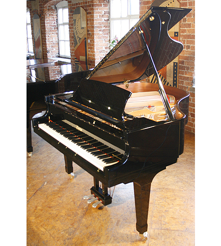 A brand new, Boston GP156 Performance Edition grand piano with a black case