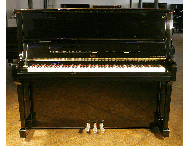 A brand new Boston UP126 PE upright piano with a black case and polyester finish