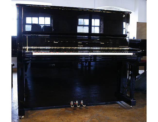 A Brand new Boston 132 Performance Edition upright piano with a black case and polyester finish