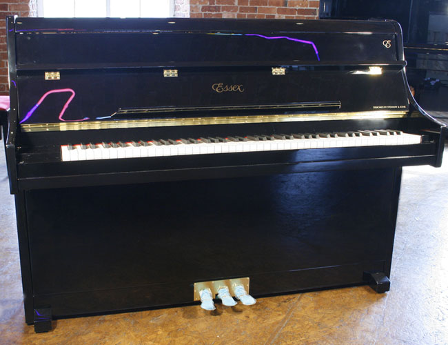 A brand new Essex 108 upright piano with a black case and polyester finish