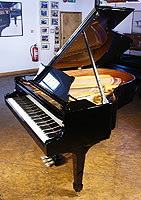 New Steinway Model M grand piano For Sale with a black case and polyester finish