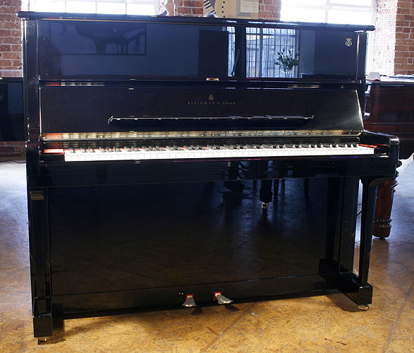 Brand New, Steinway Model V upright Piano for sale with a black case.