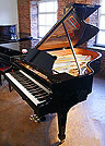 A Brand new Steinway Model A grand piano with a black, case and a polyester finish. 