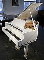 New Steinhoven Model 148 baby grand piano For Sale with a white case and polyester finish