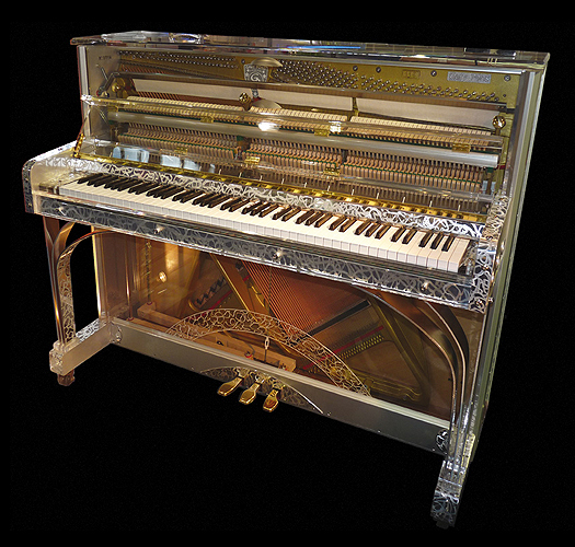 A Gary Pons SY115 'Platinium R' upright piano with a transparent, Altuglass and embossed stainless steel case