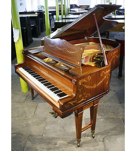 An art cased, Schiedmayer grand piano with an Adams Style inlaid, rosewood case