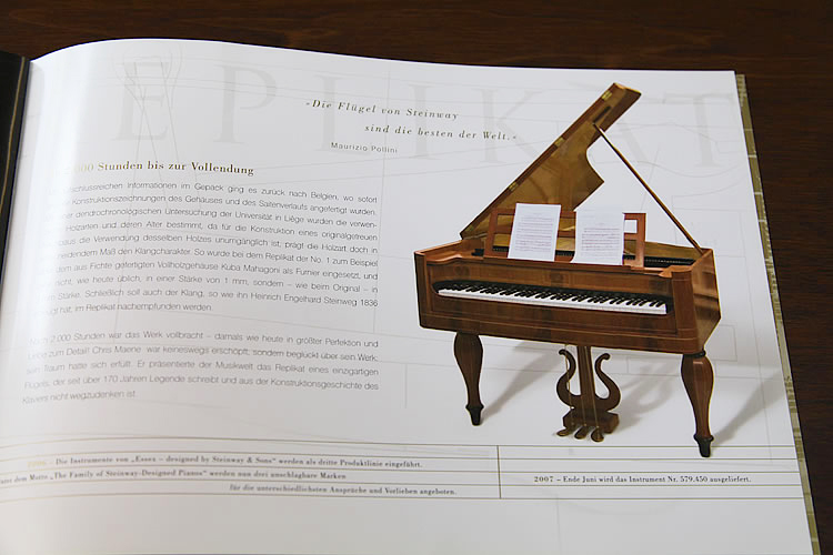 Steinway catalogue explaining the history of this piano design