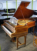 An 1884, Bechstein Model B grand piano with a mahogany case and gate legs, inlaid with satinwood stringing