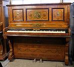 Piano for sale. A Payne upright piano with a  hand-painted satinwood case