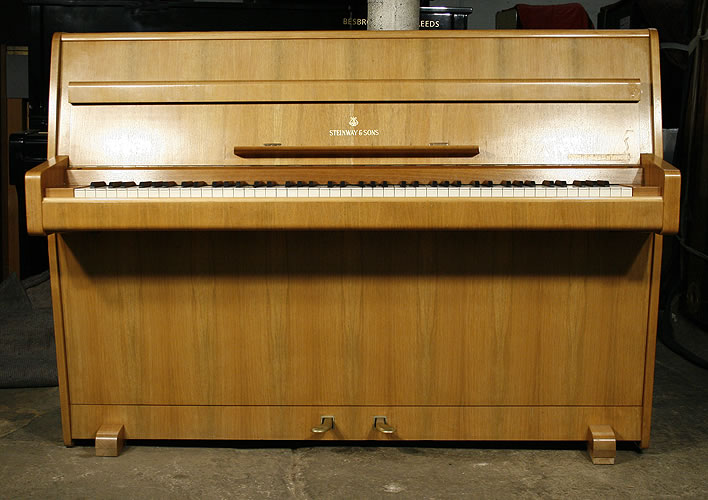 Steinway Model F upright Piano for sale with a bleached walnut case.