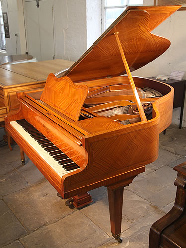 L. De Smet Grand Piano For Sale with a Satinwood Case Inlaid with Crossbanding and Boxwood Stringing
