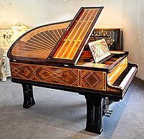 Art-Deco inlaid Schiedmayer grand piano for sale. Designed by Peter Behrens.