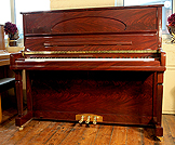 Piano for sale. A brand new Steinhoven HG126 upright piano with a mahogany case.