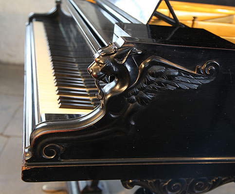 Bechstein concert grand piano cheeks with carved griffins