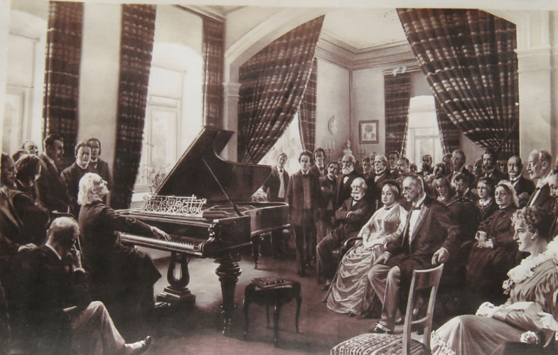 Franz Liszt playing on his Bechstein concert grand piano at his appartment in Weimar, Germany