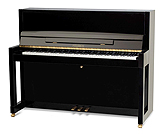 Piano for sale. A Feurich Model 115 upright piano with a black case.