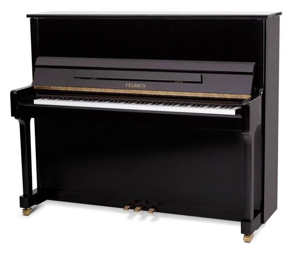 福裡希(Feurich)型號 122 立式鋼琴(全新),黑色外殼,鉻合金配飾