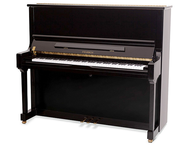 A Brand New Feurich Model 133 upright piano with a black case