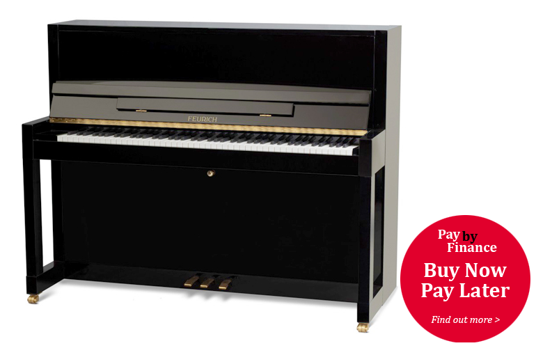 Brand New, Feurich Model 133 upright Piano for sale with a black case.