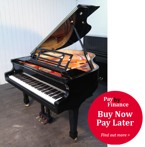 Feurich Model 161 grand Piano for sale with a black case.