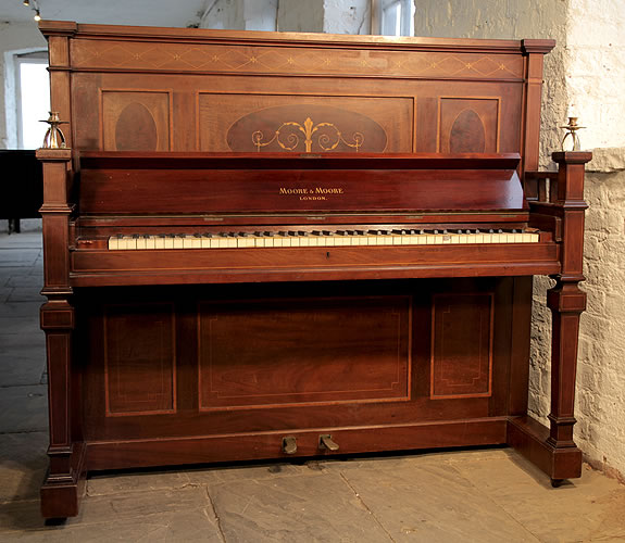 Piano for sale. Arts and Crafts, Moore and Moore upright Piano for sale with an inlaid, mahogany case