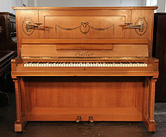 Seiler XB upright piano with Adams Style Swags and Bows Inlay