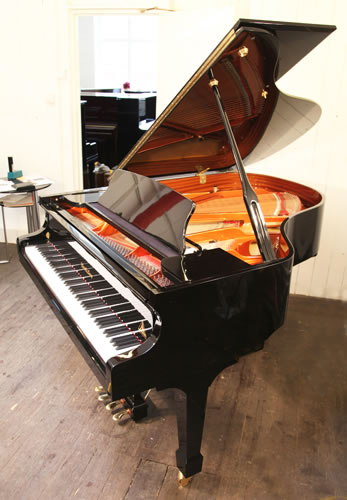 A Wendl and Lung Model 178 grand piano with a black case and polyester finish. Piano features a 4th harmonique pedal.