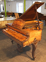 Rococo Style Erard Grand Piano For Sale with a Quarter Veneered, French Walnut Case. Cabinet Features Ornate Carvings and Inlay