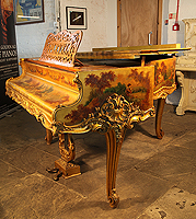 Artcase,  Pleyel Grand Piano For Sale with a Vernis Martin Gold Lacquer, Rococo Style Case. Entire Cabinet is Covered with Oil Paintings of Pastoral Scenes. Ornately Carved Gilt Scroll Foot Legs and Lyre